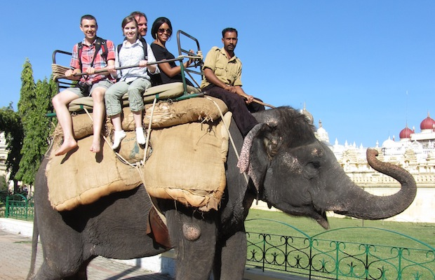 riding on an elephant in India