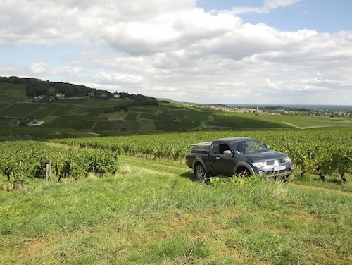 Truck in the vineyards near Montagny.
